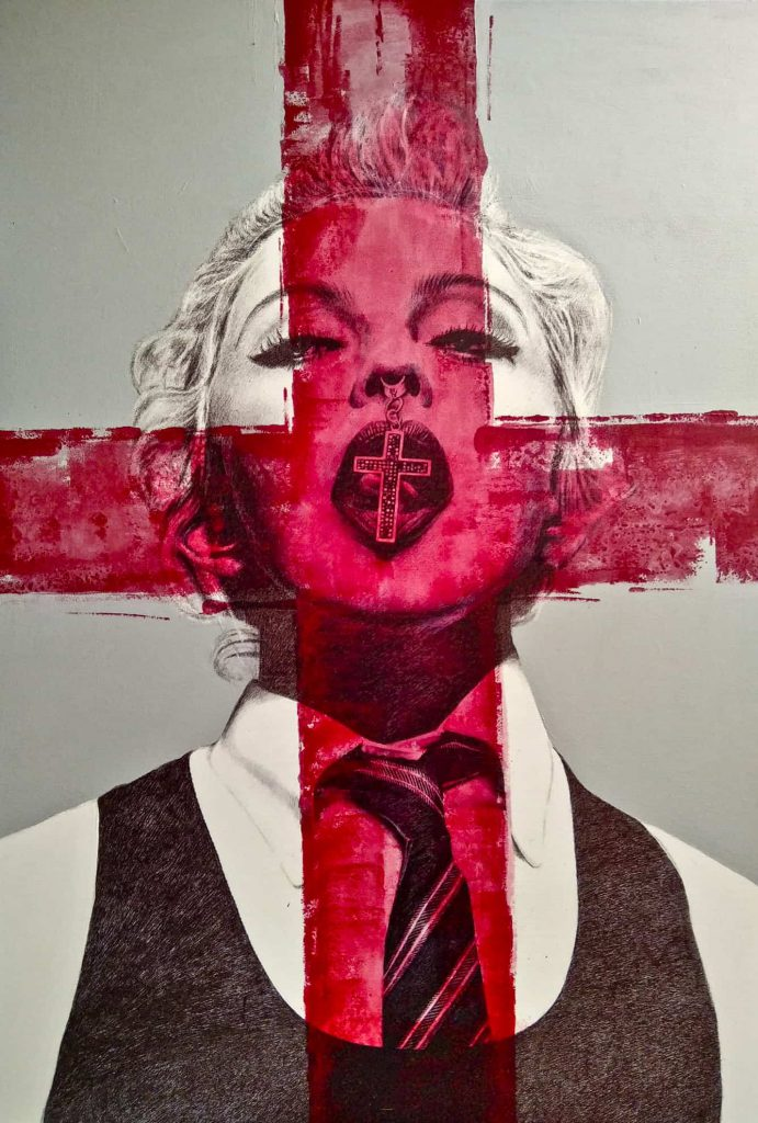 Madonna akryl i tusz
